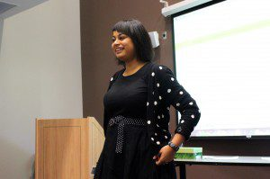 Ryerson journalism professor Asmaa Malik at the talk.
