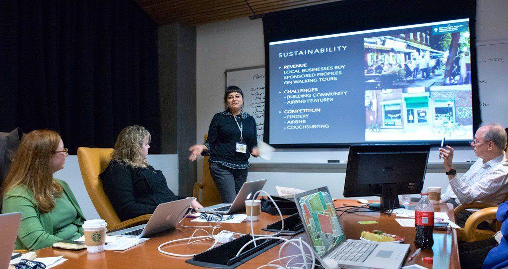 Ryerson journalism professor Asmaa Malik presenting her pitch. Photo: Curt Chandler / Penn State University