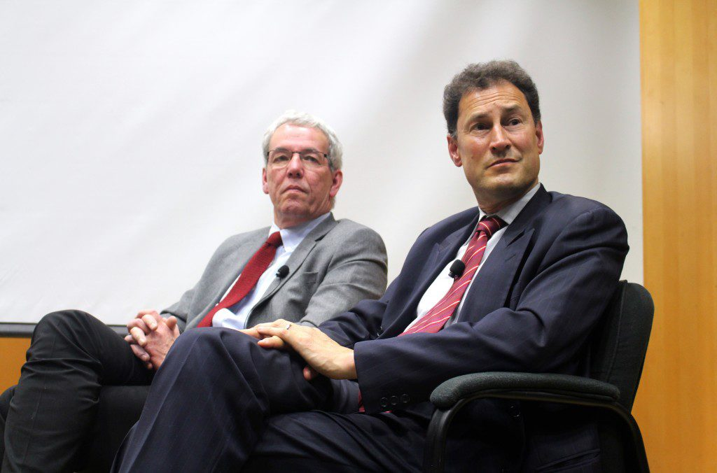 Distinguished visiting professors James Turk and Steve Paikin (Photo: Robert Liwanag)