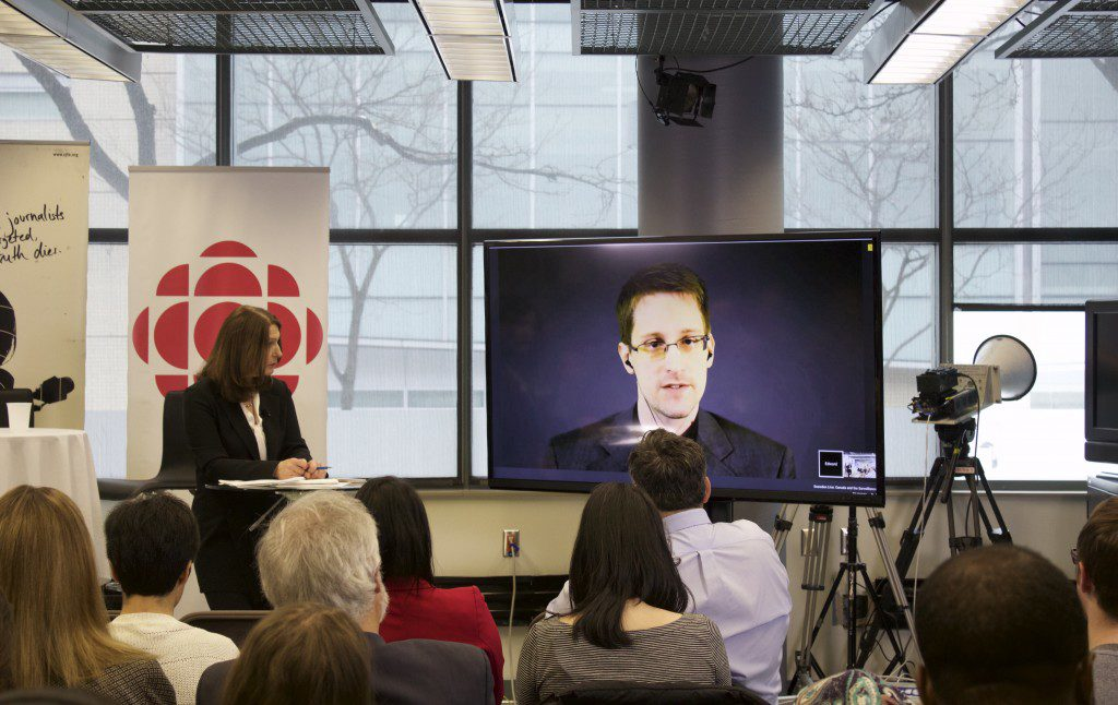 Edward Snowden answering audience questions via live stream (Photo: Robert Liwanag)