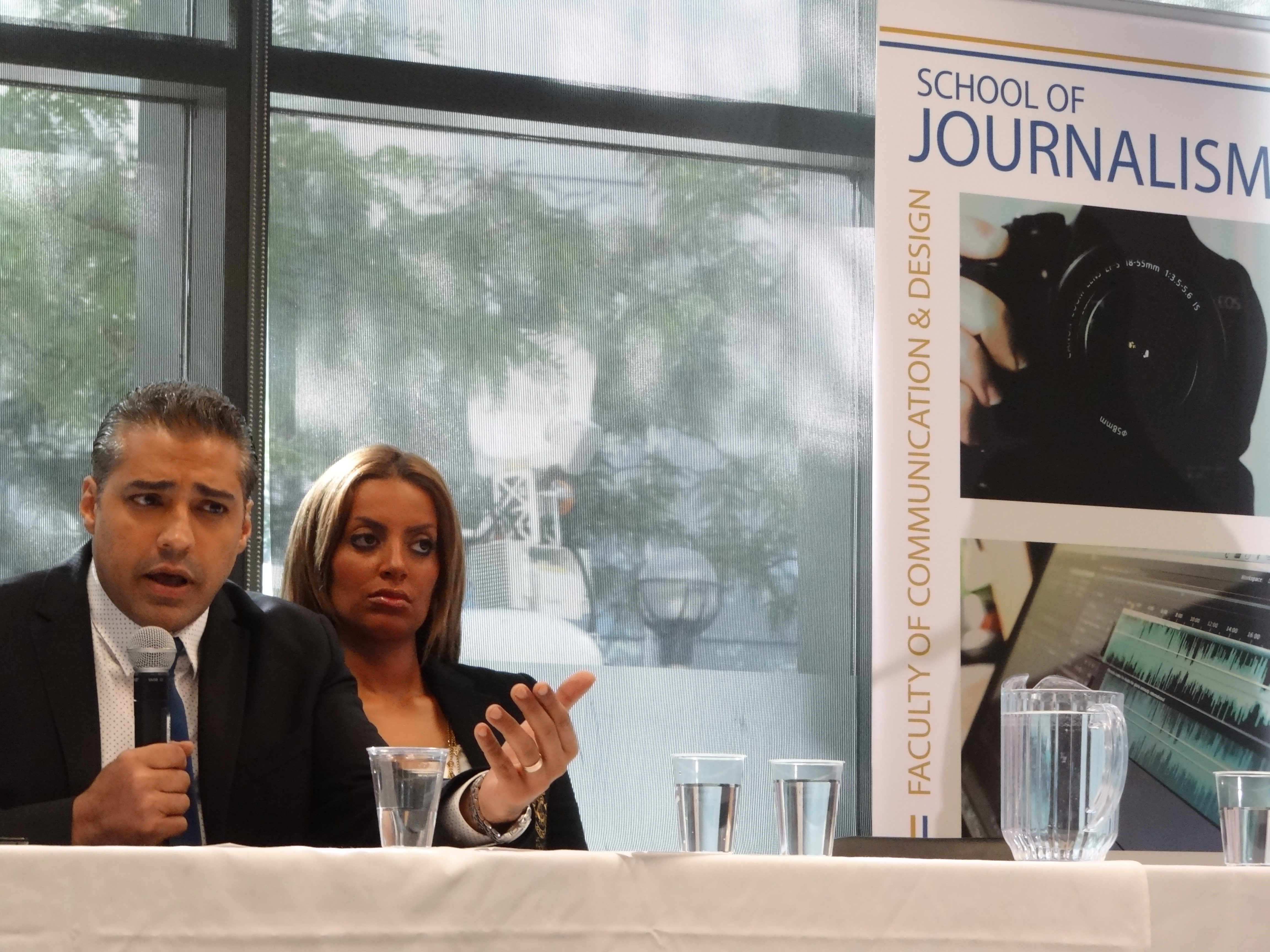 Recently freed journalist Mohamed Fahmy addresses a news conference hosted by Canadian Journalists for Free Expression at Ryerson University's School of Journalism.