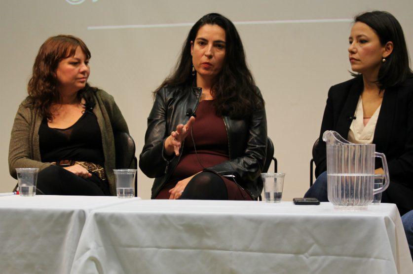 Journalists Karyn Pugliese, Tanya Talaga and Connie Walker speak on covering Indigenous community at the Ryerson School of Journalism. (Jasmine Bala)