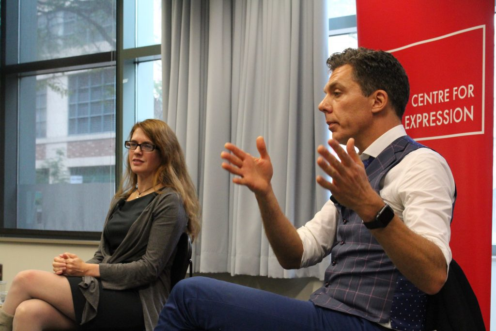 An institute director and an investigative reporter speak to Ryerson students.