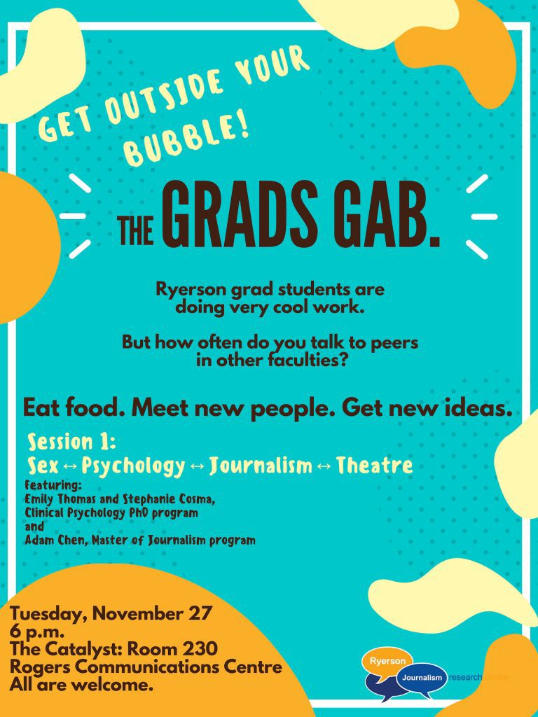 Poster for the Grads Gab event.